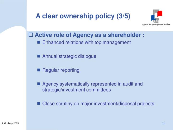 A clear ownership policy (3/5)