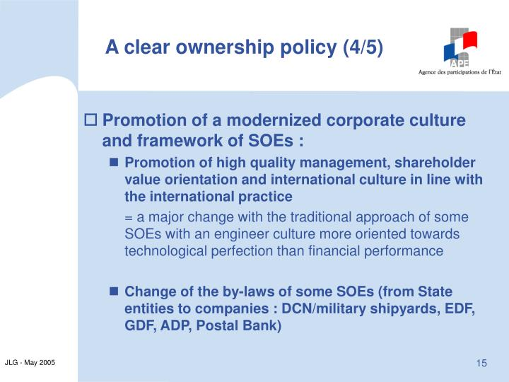 A clear ownership policy (4/5)