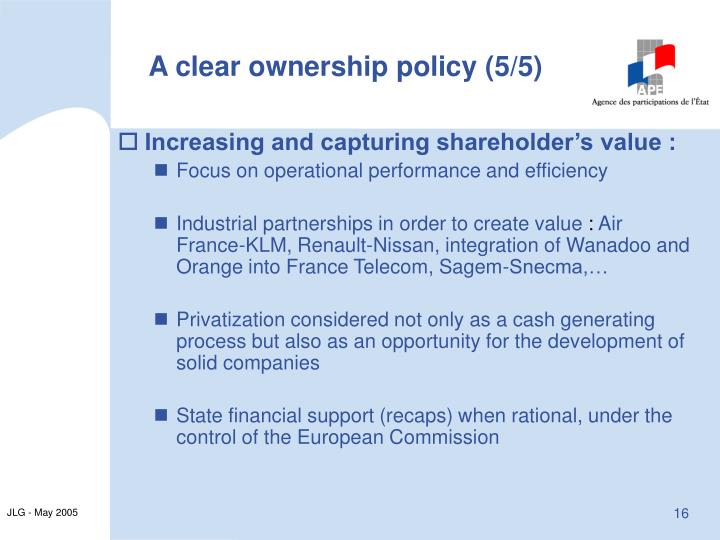 A clear ownership policy (5/5)