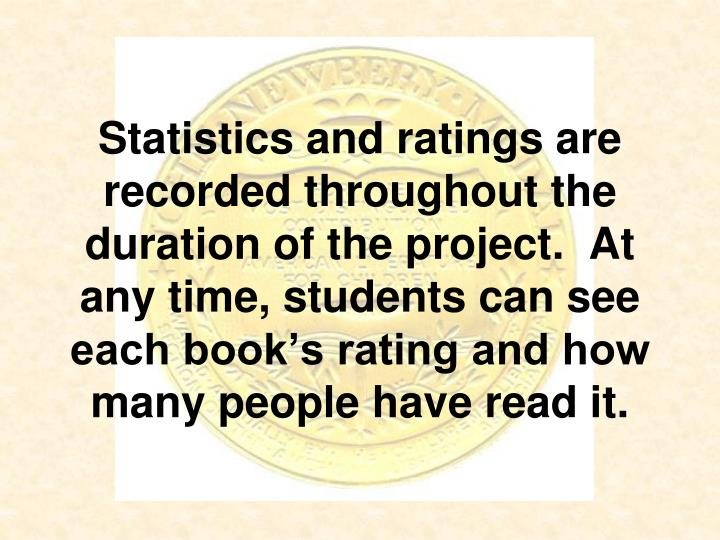 Statistics and ratings are recorded throughout the duration of the project.  At any time, students can see each book's rating and how many people have read it.
