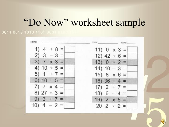 """Do Now"" worksheet sample"