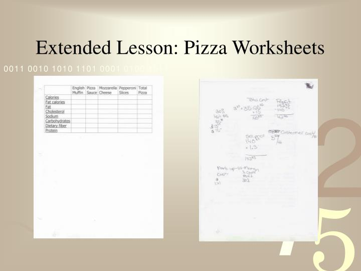 Extended Lesson: Pizza Worksheets