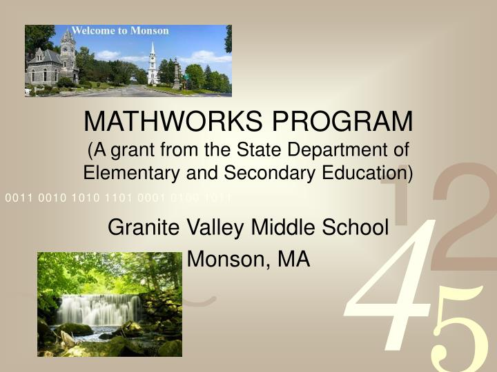 Mathworks program a grant from the state department of elementary and secondary education