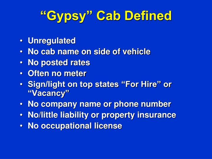 """""""Gypsy"""" Cab Defined"""