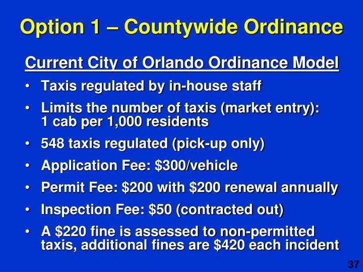 Option 1 – Countywide Ordinance