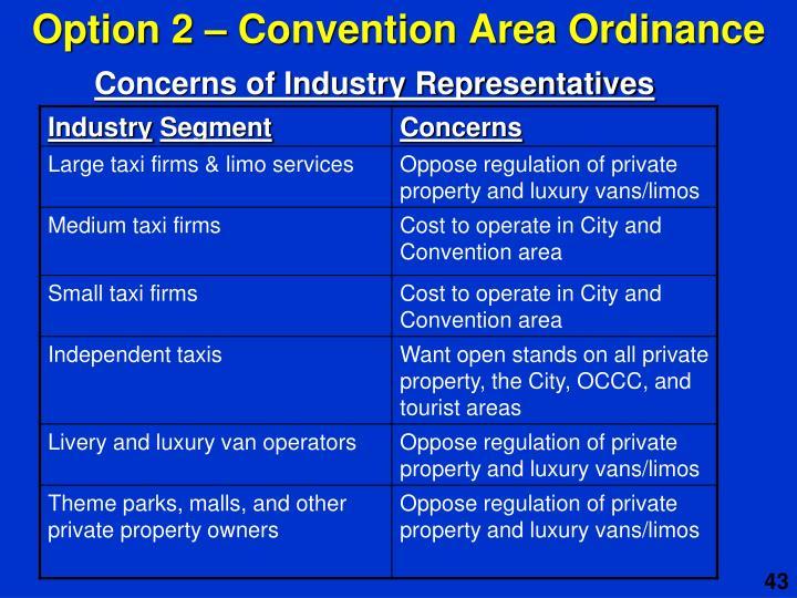 Option 2 – Convention Area Ordinance