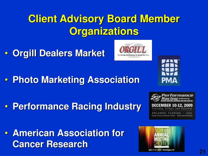 Client Advisory Board Member Organizations