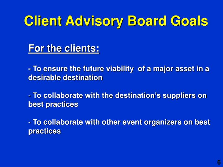 Client Advisory Board Goals