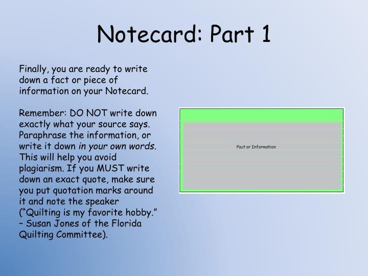 Notecard: Part 1