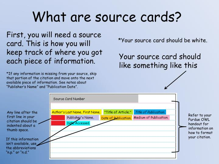 What are source cards?