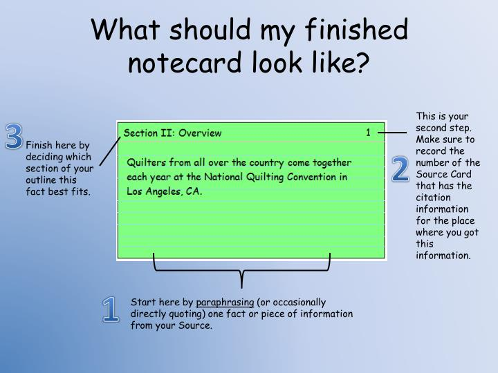 What should my finished notecard look like?