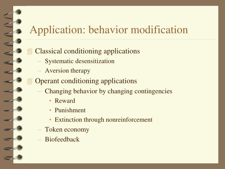 Application: behavior modification
