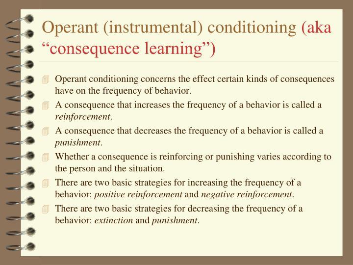 Operant (instrumental) conditioning