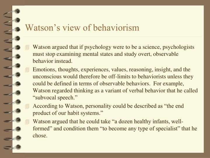 Watson's view of behaviorism