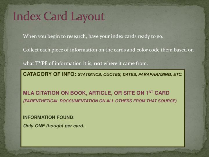 Index Card Layout