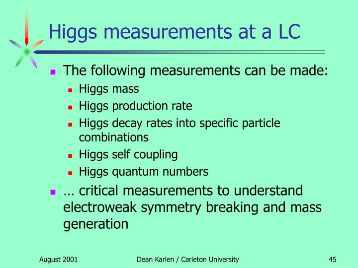 Higgs measurements at a LC