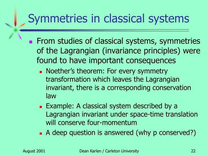 Symmetries in classical systems