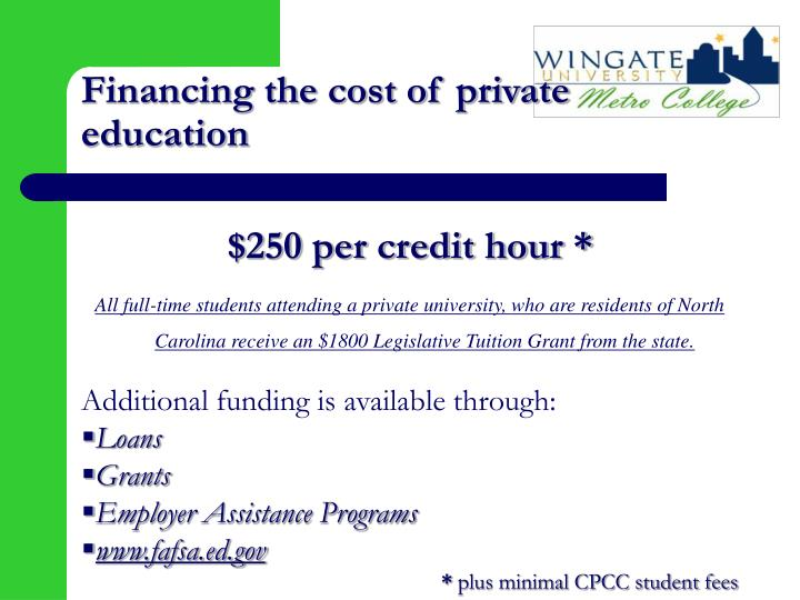 Financing the cost of private education
