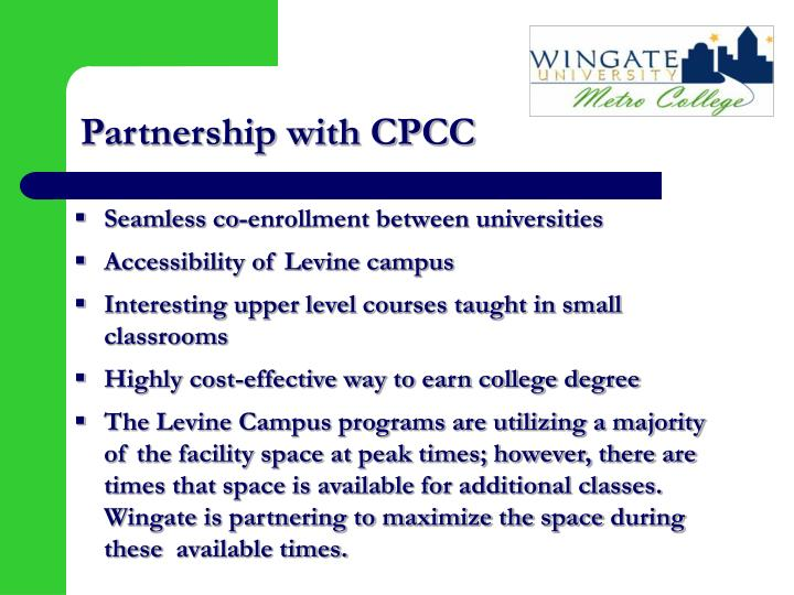 Partnership with cpcc