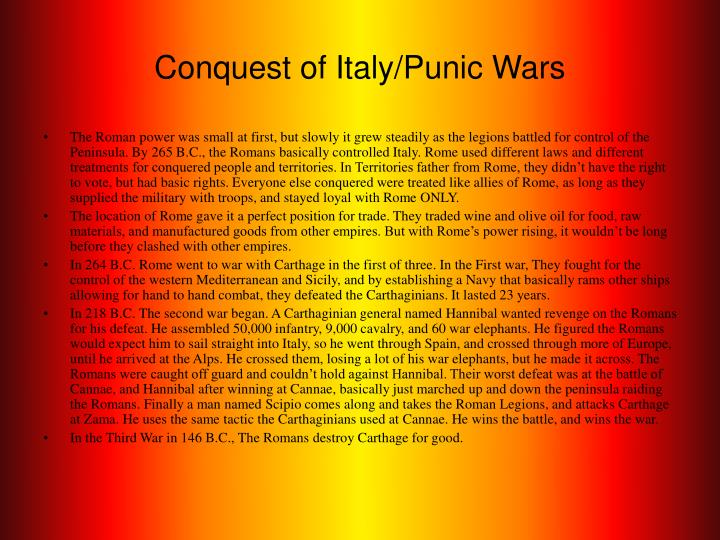 Conquest of Italy/Punic Wars
