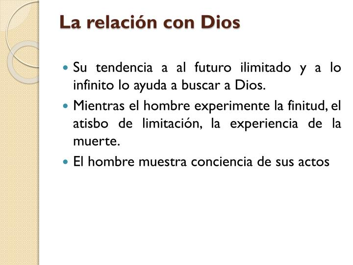 La relación con Dios