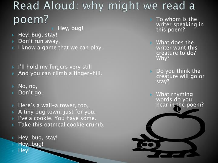 Read aloud why might we read a poem
