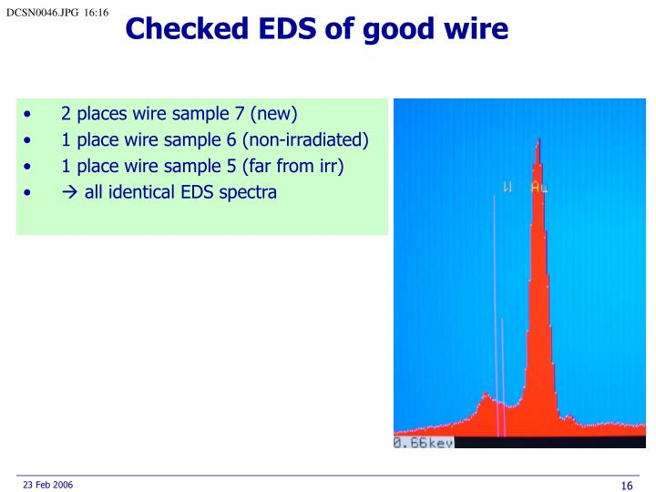Checked EDS of good wire