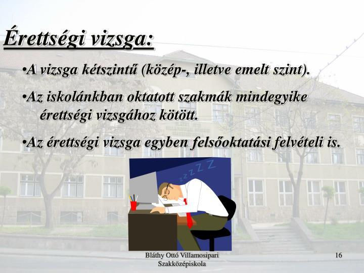 Érettségi vizsga: