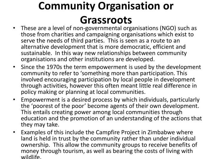 Community Organisation or Grassroots