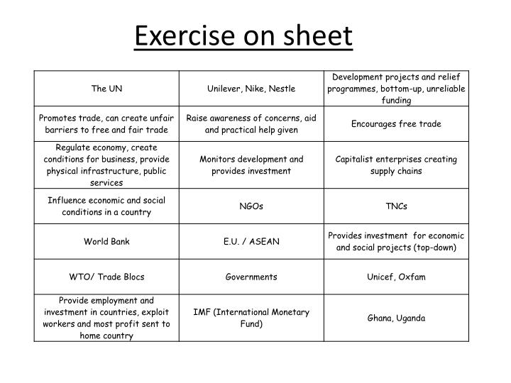Exercise on sheet