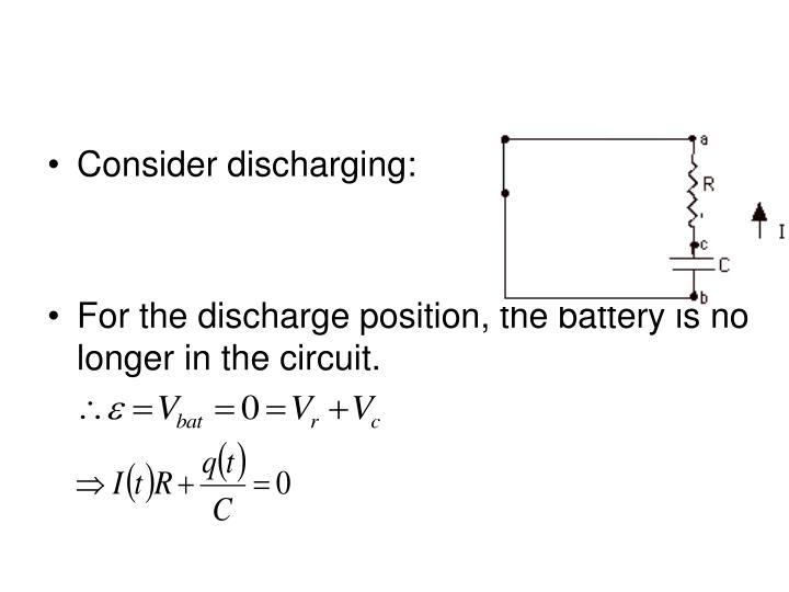 Consider discharging:
