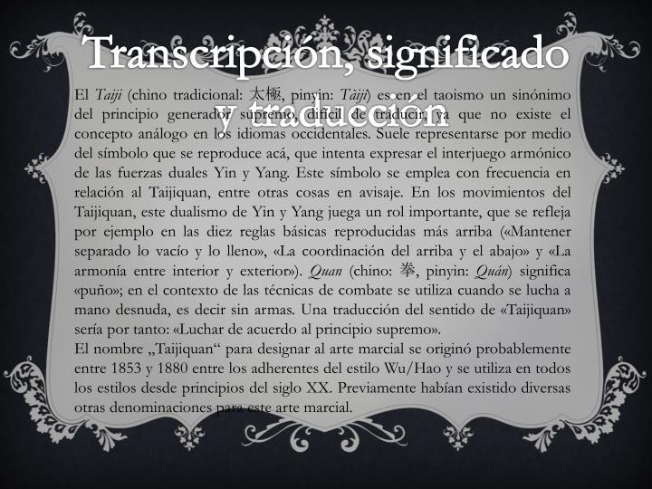 Transcripción, significado
