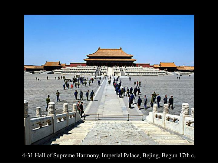 4-31 Hall of Supreme Harmony, Imperial Palace, Bejing, Begun 17th c.