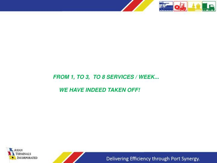 FROM 1, TO 3,  TO 8 SERVICES / WEEK...