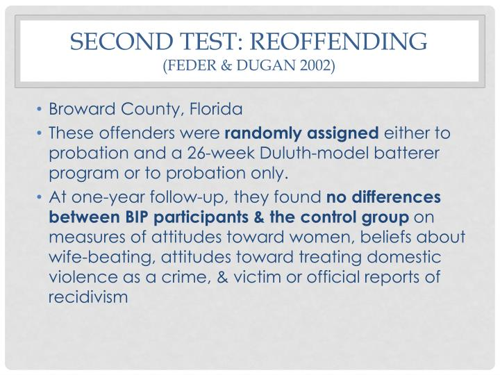 Second test: reoffending