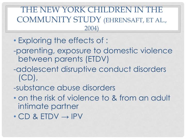The New York Children in the Community Study