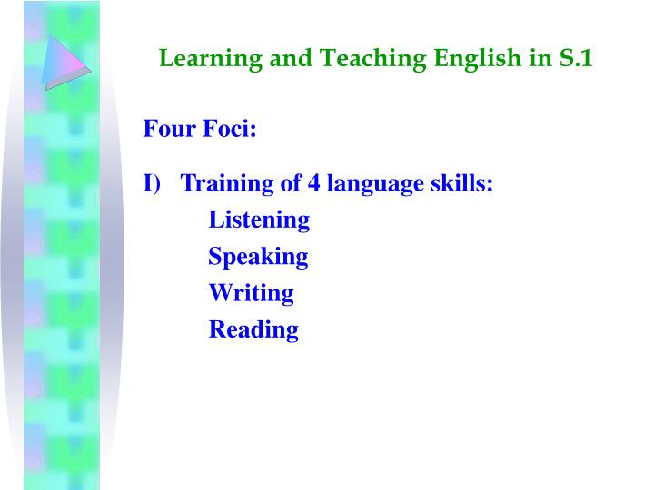 Learning and teaching english in s 12