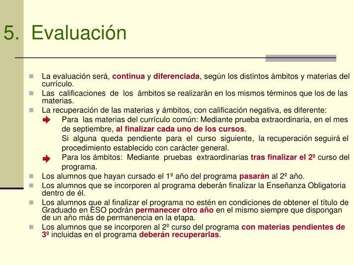 5.  Evaluación