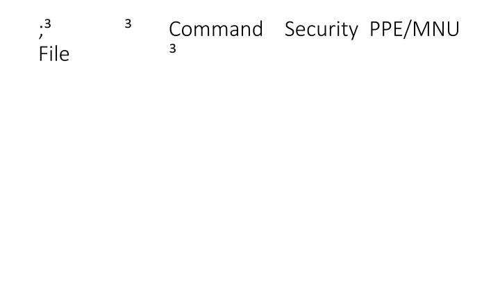;                     Command    Security  PPE/MNU File