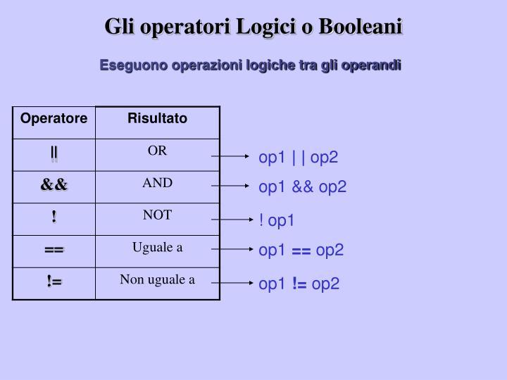 Gli operatori Logici o Booleani