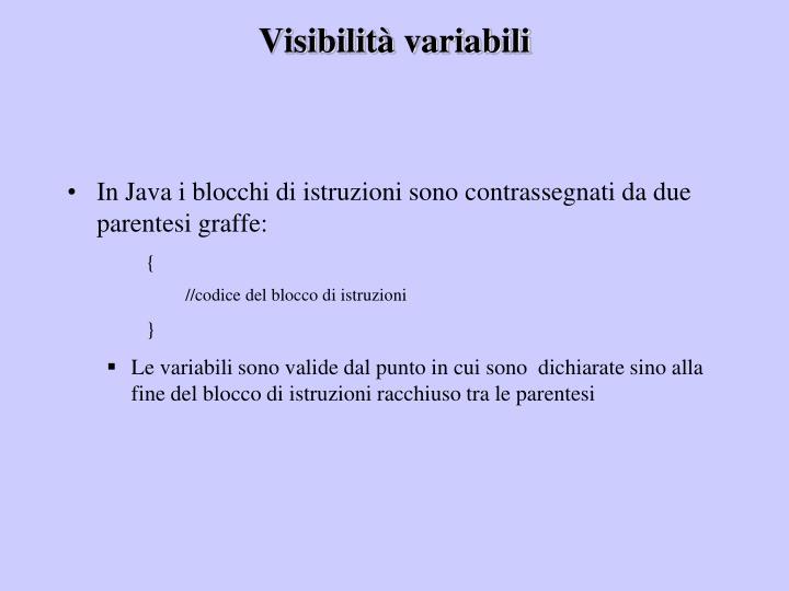 Visibilità variabili