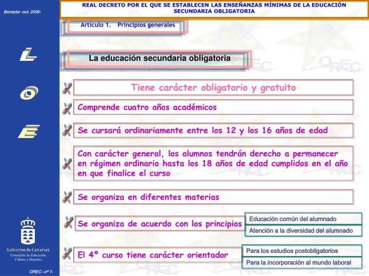 REAL DECRETO POR EL QUE SE ESTABLECEN LAS ENSEÑANZAS MÍNIMAS DE LA EDUCACIÓN SECUNDARIA OBLIGATORIA