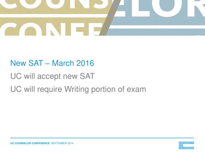 New SAT – March 2016