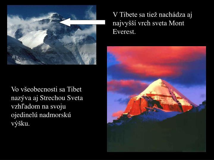 V Tibete sa tiež nachádza aj najvyšší vrch sveta Mont Everest.