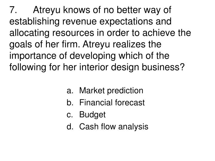 7. Atreyu knows of no better way of establishing revenue expectations and allocating resources in order to achieve the goals of her firm. Atreyu realizes the importance of developing which of the following for her interior design business?