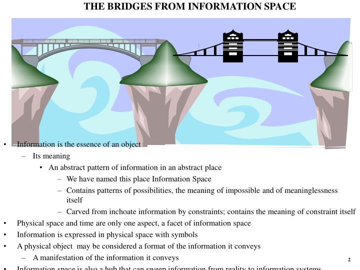 THE BRIDGES FROM INFORMATION SPACE