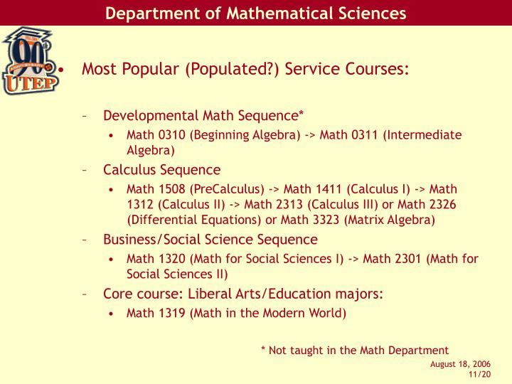 Most Popular (Populated?) Service Courses: