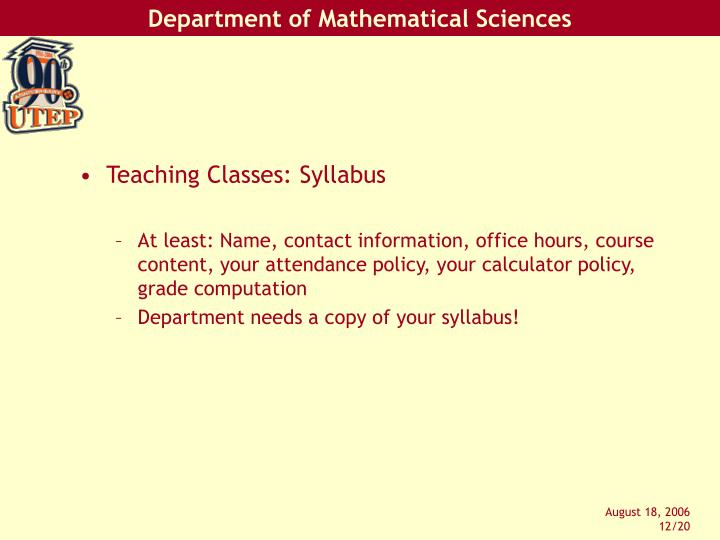 Teaching Classes: Syllabus