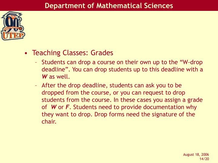 Teaching Classes: Grades