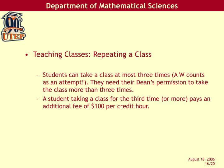 Teaching Classes: Repeating a Class